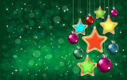 Colorful stars and baubles Royalty Free Stock Photography