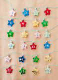Colorful stars on brown paper Royalty Free Stock Photo