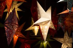 Colorful stars decoration hanging Stock Images