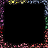 Colorful of stars frame vector on black background Stock Photography