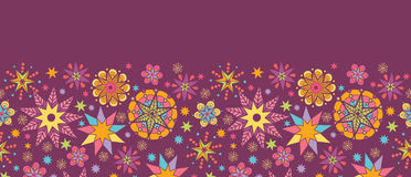 Colorful stars horizontal seamless pattern. Vector colorful stars horizontal seamless pattern ornament background with hand drawn elements Royalty Free Stock Image