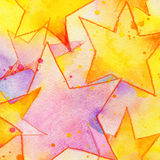 Colorful stars. Kids background. For Birthday and children's holiday. watercolor illustration Stock Photo
