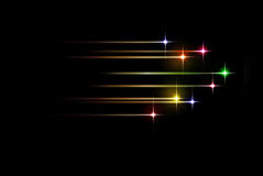 Colorful stars motion. Background in black space Stock Images