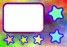 Colorful stars photo frame Royalty Free Stock Images