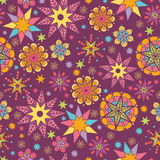 Colorful stars seamless pattern background. Vector colorful stars seamless pattern background with hand drawn elements Royalty Free Stock Image