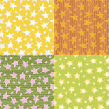 Colorful stars seamless pattern vector backgrounds. Four colorful stars seamless pattern vector backgrounds Royalty Free Stock Images