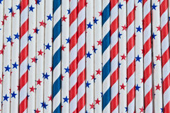 Colorful stars and stripes straws Royalty Free Stock Photo