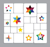 Colorful stars vector icons collection set. This graphic can also represent star ratings in websites, etc., christmas time stars, etc Stock Photography