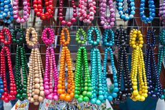Colorful statement necklaces royalty free stock image
