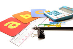 Colorful stationary for children student concept Stock Photography