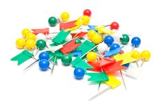 Colorful stationery pins Royalty Free Stock Photo