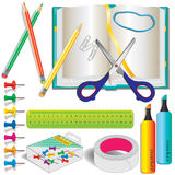 Colorful stationery, school supplies Royalty Free Stock Photos