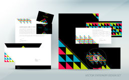 Colorful stationery set with triangle Stock Photo