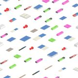 Colorful stationery supplies isometric seamless pattern. Colorful flat isometric vector illustration. Isolated on white stock illustration