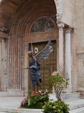 A colorful statue in front of the cathedral in Verona Stock Photos