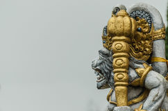 Colorful statue of temple and gray background Royalty Free Stock Photography