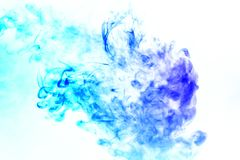 Colorful steam exhaled from the vape with a smooth transition of color molecules from turquoise to blue on a white background like royalty free stock images