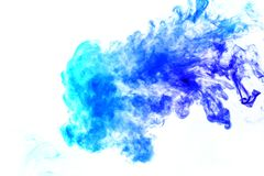 Colorful steam exhaled from the vape with a smooth transition of color molecules from turquoise to blue on a white background like royalty free stock photo