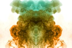 Colorful steam exhaled from the vape with a smooth transition of color molecules from yellow to blue on a white background like a vector illustration