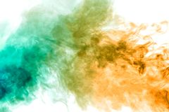 Colorful steam exhaled from the vape with a smooth transition of color molecules from yellow to blue on a white background like a stock photos