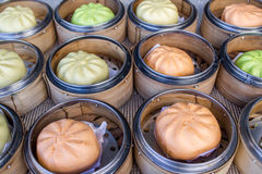 Colorful steamed stuff bun Royalty Free Stock Photos