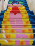 Colorful steps in Agueda, Portugal. A Digital painting of colorful steps in Agueda, Portugal royalty free stock photo