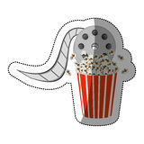 Colorful sticker with cinematography movie video film tap and popcorn. Illustration Royalty Free Stock Photo