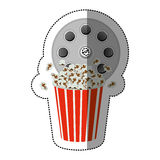 colorful sticker with cinematography tape and popcorn Stock Images