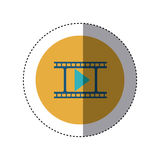 Colorful sticker circular border with filmstrip with play button. Vector illustration Stock Photo