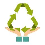 colorful sticker of hands holding a green recycling symbol shape Royalty Free Stock Photos