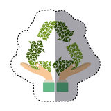 Colorful sticker of hands holding a green recycling symbol shape Stock Image