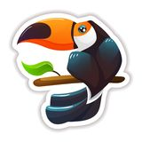 Colorful sticker, label, logotype. Modern tropical beautiful exotic bird toucan. Summer tropical sticker, label, logotype, badge on the topic travel, vacation vector illustration