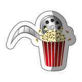 Colorful sticker with movie film and popcorn with half shadow. Illustration Royalty Free Stock Photo