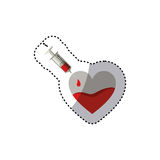 Colorful sticker needle syringe donate blood in heart shape. Illustration Stock Photo