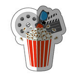 Colorful sticker with popcorn cup with cinematography tape and clapper board. Illustration Stock Images