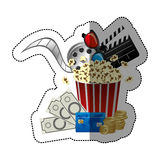 Colorful sticker with popcorn cup with glasses 3D and clapper board and money and movie tickets in front. Illustration Royalty Free Stock Images