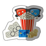 Colorful sticker with popcorn cup and glasses 3D and money and movie tickets. Illustration Stock Photo