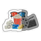 Colorful sticker with popcorn cup and glasses 3D and money and movie tickets and movie tape and clapper board. Illustration Stock Images