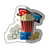 colorful sticker with popcorn cup and glasses 3D with movie tickets and credit card Royalty Free Stock Images