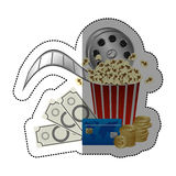 Colorful sticker with popcorn cup and money and movie tickets and cinematography tape. Illustration Royalty Free Stock Image