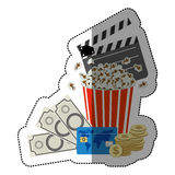 Colorful sticker with popcorn cup with money and movie tickets Royalty Free Stock Images