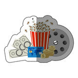 Colorful sticker with popcorn cup and money and movie tickets and movie tape Royalty Free Stock Image