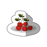 Colorful sticker of set collection cherries fruit. Vector illustration Royalty Free Stock Image
