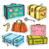 Colorful sticker, set retro luggage, old vintage suitcase, chest and bag. Vector illustration sketch, of comic style colorful icons, set retro luggage, old stock illustration