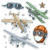 Colorful sticker, set retro old aircraft, pilot helmet. Vector illustration sketch, of comic style colorful icons, set retro old aircraft, pilot helmet and Stock Image