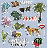Colorful sticker set. Traveling and voyage concept. Tropical holliday vector illustration
