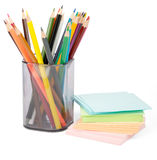 Colorful stickers pile with crayons Royalty Free Stock Image