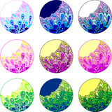 Colorful stickers. Set of colorful stickers with floral ornament Stock Photo