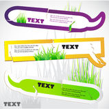 Colorful stickers for speech. Green grass. Natural background Stock Image