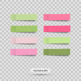 Colorful stickers. Vector. Set of pink and green post note sticky. Royalty Free Stock Photo